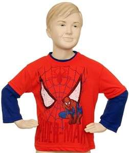 MARVEL SPIDER MAN Boys 4 7 2FER Screen Tee LONG SLEEVE RED