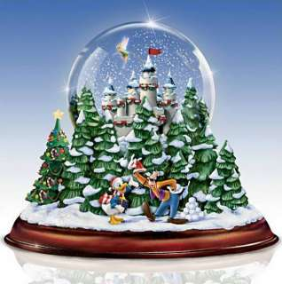 DISNEY *VINTAGE CHRISTMAS* MUSICAL SNOW GLOBE W/LIGHTS & SWIRLING SNOW