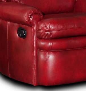 Red Leather Recliner Arm Chair