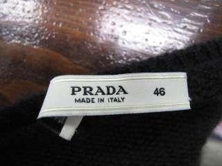 Prada Black Cashmere Long Sleeve Scoop Neck Cashmere Sweater 46
