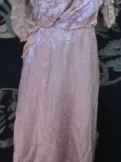 1910 Titanic Edwardian Pink Silk Satin Lace Evening Gown Formal Dress
