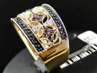14K CHOCOLATE/BLACK/WHITE DIAMOND FASHION BAND RING