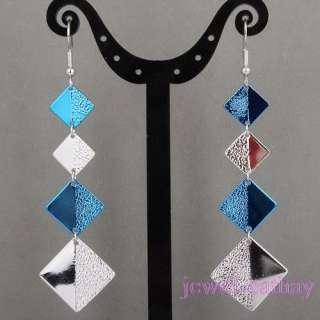 chandelier Blue Square bead long Charms Dangle Earrings