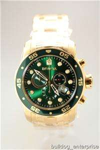 Mens Invicta 0075 Scuba Pro Diver Green Chronograph Gold Plated Watch