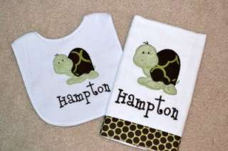 NEW* Personalized Turtle Applique Bib and Burp Cloth *Baby Gift