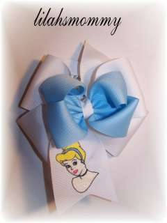 Custom boutique embroidered Cinderella hair bow