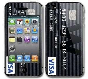 iPhone 4 Credit Card Decal Vinyl Sticker Skin VISA BLK