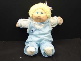 VINTAGE CABBAGE PATCH KIDS BLONDE BABY BOY DOLL BLUE DOLPHIN JUMPER