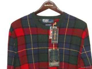 NWT $595 Polo Ralph Lauren Tartan Cashmere Sweater L