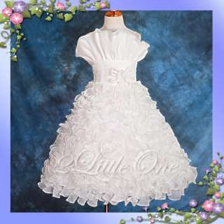 Ivory Wedding Flower Girl Pageant Party Dress Size 7 8