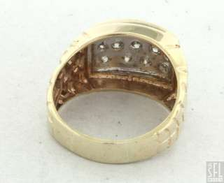 HEAVY 14K YELLOW GOLD 1.01CT DIAMOND NUGGET MENS RING SIZE 9.5