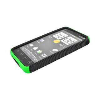 For HTC EVO 4G Neon Green Black Dual Flex Hard Case Gel Cover TPU