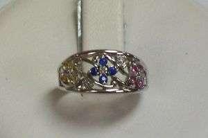 Brand New 10K White Gold Multi Color Sapphire Ring