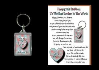 21ST HAPPY BIRTHDAY BROTHER 21 CARD AND KEYRING GIFT