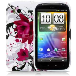 HOT PINK FLOWER SWIRL SILICONE CASE FOR HTC SENSATION