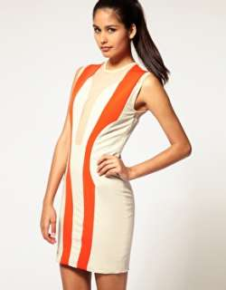 Aqua Bass Clef Dress With Mesh Insert And Contrast Panelling 14 42