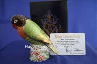 ROYAL CROWN DERBY BLACK FACED LOVEBIRD PAPERWEIGHT MALE