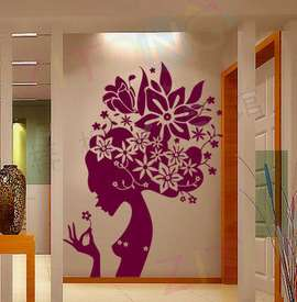 Beautiful Flower Girl Wall Sticker Vinyl Art Decal