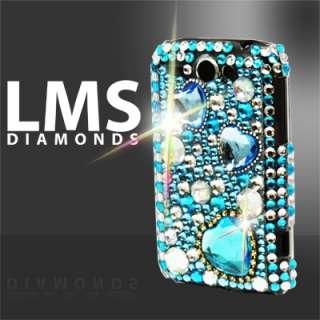 Magic Store   Blue Diamante Love Hearts Design Case For HTC Wildfire