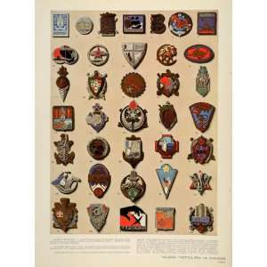 1939 Print French Military Insignia France Army Corps