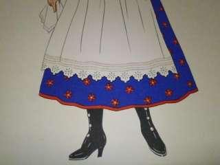 Costume de Cracovie, Pologne. Vetement Mode Folklore