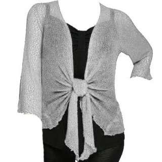 Womens Fine Lace Knit Shrug Tie Bolero Cardigan Top