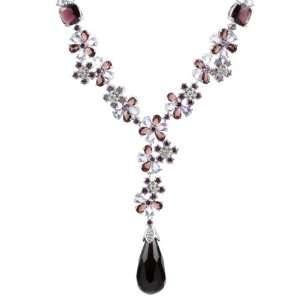 Krystals Fancy Flower Necklace   Purple & Blue Lead Free Silver Tone