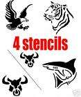 TEMPORARY TATTOO STENCILS SET   EAGLE SHARK BULL TIGER