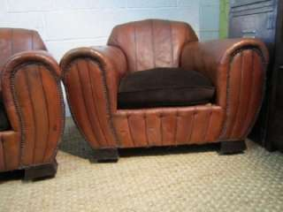 Pair Vintage Art Deco Leather Club Armchairs Chairs  lovely shape