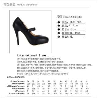 Womens Fashion Almond Toe Ankle Strap Mary Jane High Heels Pumps Shoes