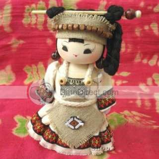 Handmade Wooden Minority Woman Costume Cartoon Doll   DinoDirect