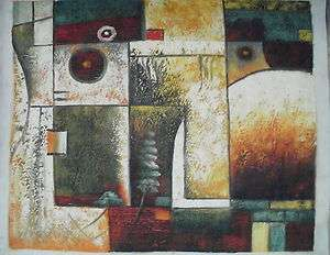 MODERN ABSTRACT SHAPE ART OIL PAINTING 20x24 BARGAIN