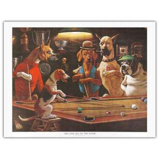 Complete Set 5x Arthur Sarnoff Dogs playing Pool Prints