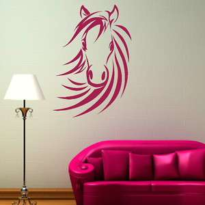 HORSE HEAD RIDING LARGE WALL ART STICKERS kids room girls bedroom