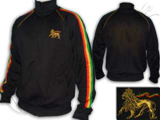 Veste Jacket Rasta Reggae Bob Marley Lion of Judah Brodé Noir FR