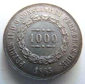 MONEDA BRASIL 1000 REIS 1865 PLATA Silver Coin Brazil