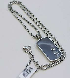 DAVID YURMAN Mens Botswanna Agate Lge Dog Tag Necklace 22 $705
