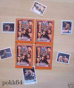 100 paquets 6 stickers CATCH WWE HEROES boosters cartes