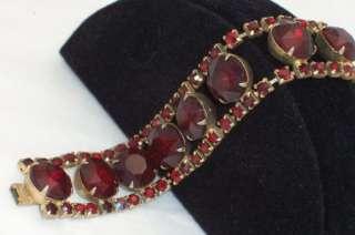 Vintage Dark Ruby Red Rhinestone Bracelet TLC