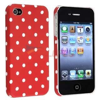 Dots Cover Case+3.5mm Cable+Travel Charger For iPhone 4 4S 4G