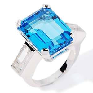 16.09ct Swiss Blue and White Topaz Sterling Silver Ring