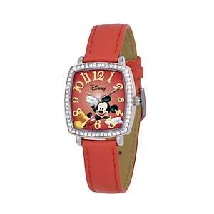 Disney™ Womens Mickey Mouse Red Leather Strap Watch