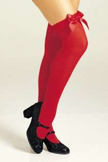 Red Thigh High Stockings with Bow   A pair of Red opaque thigh high