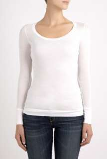 ALLMYLOVE  White Classic Long Sleeve Scoop Neck Tee by ALLMYLOVE