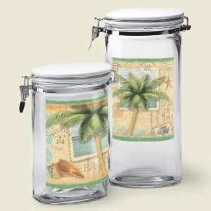 PALM TREE tropical kitchen CANISTER SET sealed glass