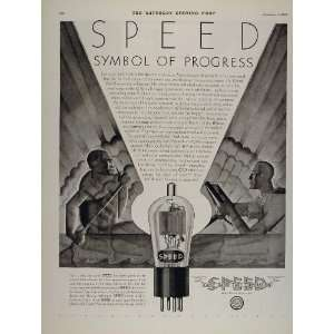 1930 Vintage Ad Speed Cable Vacuum Radio Tube Art Deco