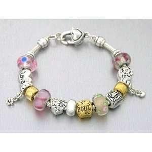 Love Heart Charm Bracelet Murano Glass Beads Dream Smile