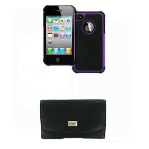 Apple iPhone 4s Black Leather Case Pouch with Belt Clip and Belt