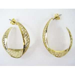 Gold Plated Laser Cut Half Hoop Earrings   Fashion Earrings Jewelry