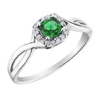 10k White Gold Genuine Diamond Emerald Ring   Size 6